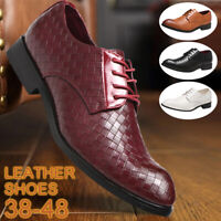 Business Mens Dress Lace Up Oxfords Pointed Lattice Leather Shoes Plus Size 6-11