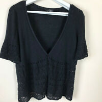 Lane Bryant Sweater Womens Size 18 20  Lightweight Knit Black Cover Short Sleeve