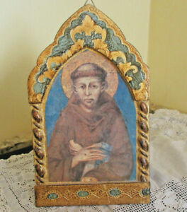 Vintage Florentine Gold Gilt Toleware Wood Plaque w Picture of a Monk Italy
