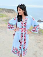 NEW Zara XS Cotton Ethnic Embroidered Belted Midi Dress Blue Floral Multi Boho