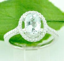 1.45 ct 14k White Gold Natural Aquamarine Diamond Ring March Birthstone