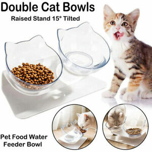 Non-slip Cat Double Bowls with Raised Stand Pet Puppy Dog Cat Food Water Feeder