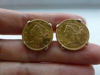 Antique 1885 $5 Liberty gold coin vintage Merrin 14k yellow gold cufflinks 27.5g
