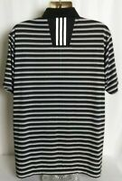 Adidas ClimaLite Short Sleeve Golf Polo Shirt Black White Stripe Mens Large