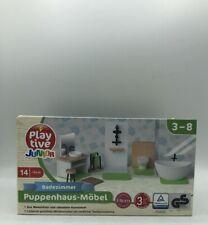 14.teilig PlayTive Junior Badezimmer Puppenhaus-Möbel aus Massivholz