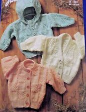 ARAN V AND CREW NECK CARDIGANS & HOODED JACKET IN 8 SIZES KNITTING PATTERN