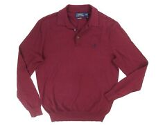 NEW POLO RALPH LAUREN RED KNIT PIMA COTTON LONG SLEEVE POLO SHIRT SIZE M