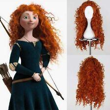 Long Curly Merida Wig Brave Princess Cosplay Red Hair Synthetic  Orange