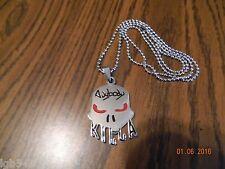 MIP-ABK-Anybody-Killa Polished chrome Pendant w/Red Eyes /30 inch ball chain