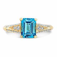 2.27 TCW 14k Yellow Gold Emerald Cut Swiss Blue Topaz Diamond Engagement Ring