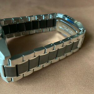Tag Heuer 21mm Bracelet Band Stainless Steel with Black Ceramic Center Links