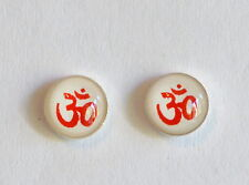Pair Of Sterling Silver  925   Red  Om  On  White  Ear  Studs  !!       New  !!