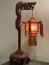 New listing 1920s Carved Dragon Table Lamp W Silk Shade
