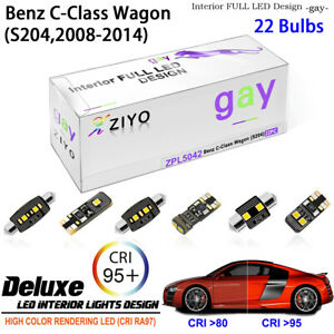 22 Bulb Deluxe LED Interior Dome Light Kit for S204 2008-2014 Benz C-Class Wagon