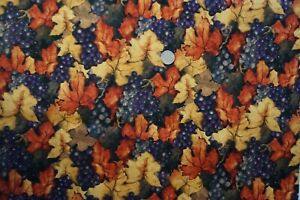 Fall Colored Leaves w/Purple Grape Continuous Pattern--Cotton-Sold BTY