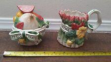 Fitz & Floyd Herb Garden Sugar Bowl and Creamer Easter Bunny Rabbit Lid Spoon