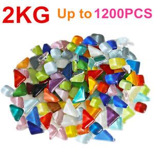 1200pcs Mixed Crystal Glass Mosaic Tiles Kitchen Bathroom Art Craft Supplies 2kg