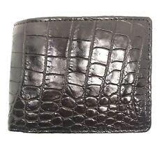 Double Sided Genuine Alligator Crocodile Skin Leather Men's Bifold Wallet Brown