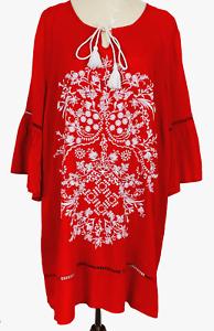 BNWT Virtuelle Womens Orange Floral Flounce Sleeve Blouse Plus Size 16