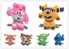 6 New Super Wings jibbitz crocs wrist hair loom band shoe charms cake toppers