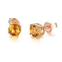 1.57 CTW YELLOW ROUND CITRINE STUD EARRINGS GP IN 0.925 SILVER