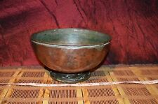 "Antique Vintage Heavy Solid Copper Bowl with Pedestal 8""x4 1/2"""
