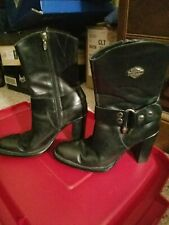 Harley Davidson black leather high heel boots womens size 8 mid-calf