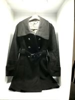 Guess Las Angeles 1981 Wool Coat womens Size Large Black Double Breasted Belted