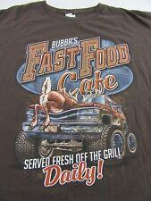BUBBAS FAST FOOD CAFE....Roadkill Humor Souvenir Brown SS T Shirt Size L