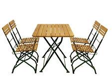Biergartengarnitur Sitzgruppe Gartenmöbel Garnitur MÜNCHEN 5-teilig Stahl Holz