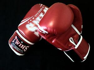 Twins PU Thai Boxing Gloves -Metallic Red-BGVS3-DM31-10oz