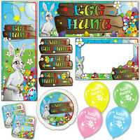 Cute Bunny Happy Easter Egg Hunt Banners Decorations Balloons Party Supplies