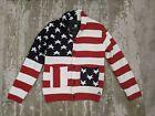 EUC Men's L RARE AMERICAN STITCH PATRIOTIC USA AMERICA FLAG Lined Knit Jacket