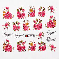 Fashion 2pcs Kids Nail Art Water Decals Stickers Transfers Pink Roses Flowers
