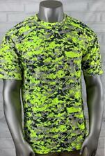 Badger Sport Short Sleeve Athletic Top Shirt Men's Xl Stretch Camo Chartreuse