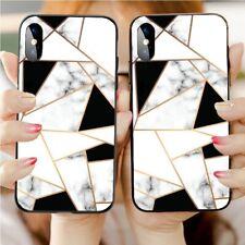 Luxe Coque Marbre géométrique Rigide Protection Cover Pour Iphone Samsung Huawei