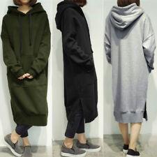 Women Fall Ladies Hooded Long Hoodies Loose Blouse Tops Casual Long Maxi Dress