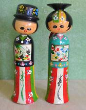 "New listing 2 Vintage Japanese Hand Painted Wooden Bobble Head Kokeshi Dolls 9"" Bride/Groom"