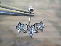 """1 Pc 16g 3/8"""" Triple Star Clear CZ Curved Barbell Eyebrow Ring or Rook"""
