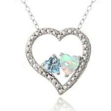 925 Silver Diamond Accent Blue Topaz & Created White Opal Heart Necklace