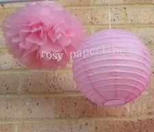 "30x 12"" Pink paper pom pom lantern wedding party baby shower birthday decoration"