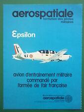 11/1981 PUB AEROSPATIALE AVION EPSILON ARMEE DE L'AIR TRAINER ORIGINAL FRENCH AD