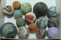 15 Marbles Beach Style Sea Glass Swirls Oxblood Blue Shooters Sandstorm Lot #3