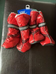 Top Paw Reflective Quilted Dog Booties Size large Red New