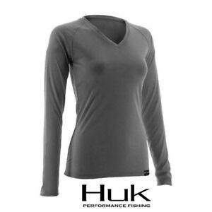 Women's Huk Performance Gray LoPro Long Sleeve V Neck Fishing Shirt XS NWT NEW