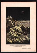 1900 SPACE. MOON. COSMOS. MOON LANDSCAPE DURING SUN RISE Antique print H.Kraemer