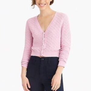 J. Crew Pink Pointelle V-Neck Cardigan Sweater Size Medium