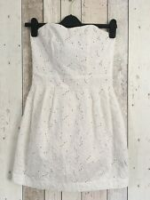 H&M Broderie Anglaise Dress 6 8 Ivory Strapless Bandeau Floral Summer Holiday