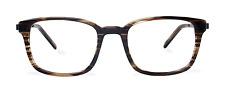 NEW Eco Atlanta Lt Brown Stripe Unisex Recycled Plastic Eyeglasses 49-19 Hipster