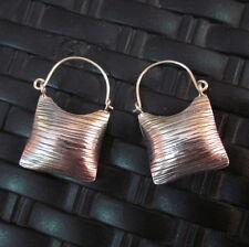 Silver Earrings Hill Tribe Handcraft Ethnic Artisan Square Huggie Styles er027